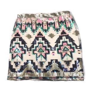 Francesca's Alya Mesh Multi-Colored Sequins Skirt